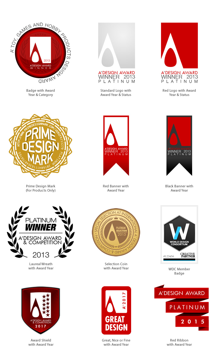 A 39 design award and competition award logo and badges for Award winning design