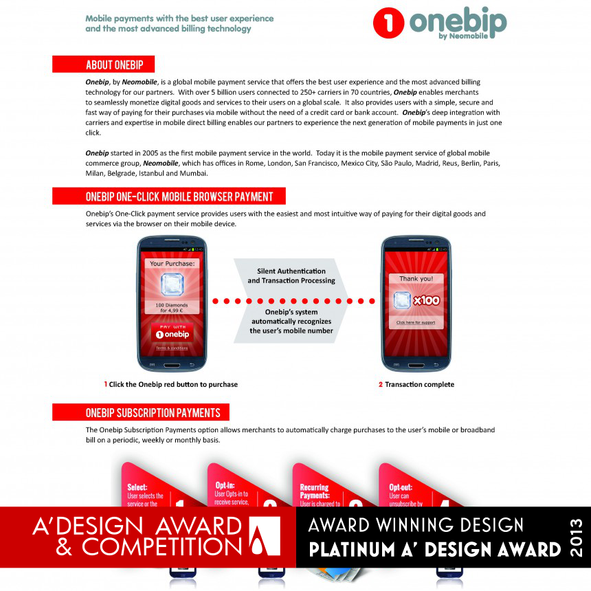Onebip one-click mobile payment solution Mobile payment