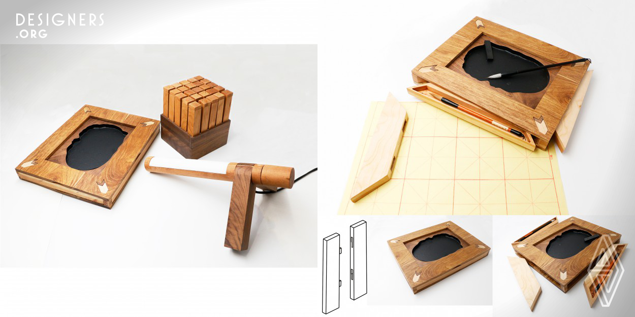 Mortise-tenon joint stationery Adjustable lamp,Storage box