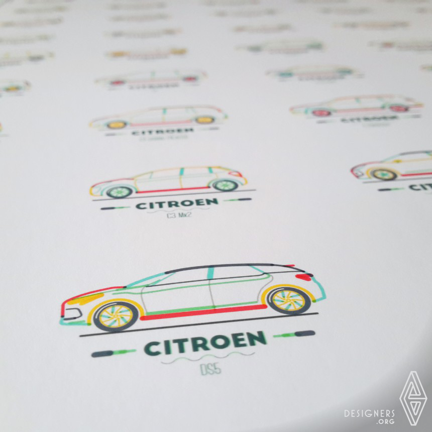 Citroen in lines Illustration Image