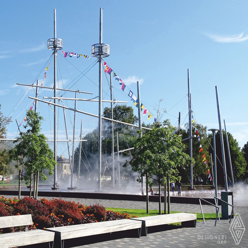Frigate Wallfisch and Lielais Square  Multifunctional fountain outdoor design Image