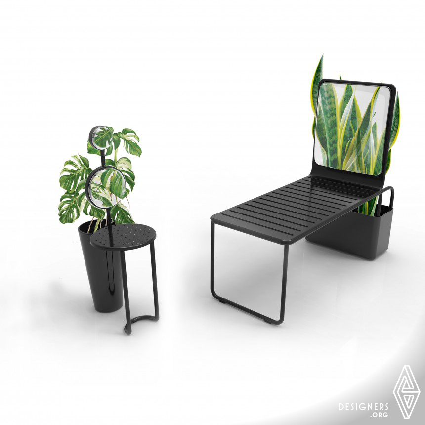 Mirror Chair Chair with magnifying glass and planter