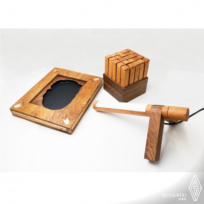 Mortise-tenon joint stationery Adjustable lamp,Storage box,Ink-stone