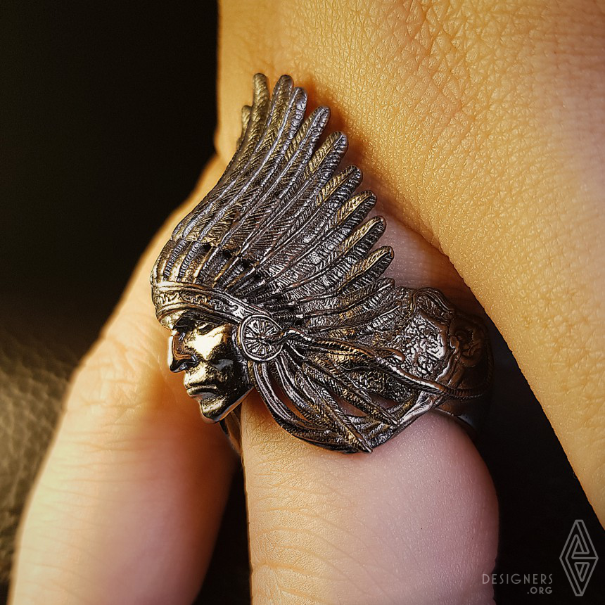 American Red Indian Chief Sterling Silver Ring