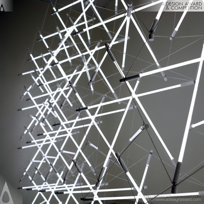 Tensegrity Space Frame Lighting Structure by Michal Maciej Bartosik