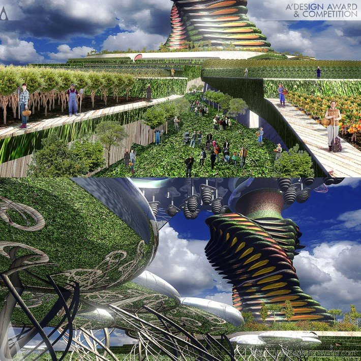 Vertical + Horizontal Farm Tower (Farming and Crop Distribution Tower Design)