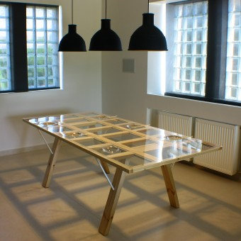 Dining table and beyond Table with adjustable tabletop by Athanasia  Leivaditou