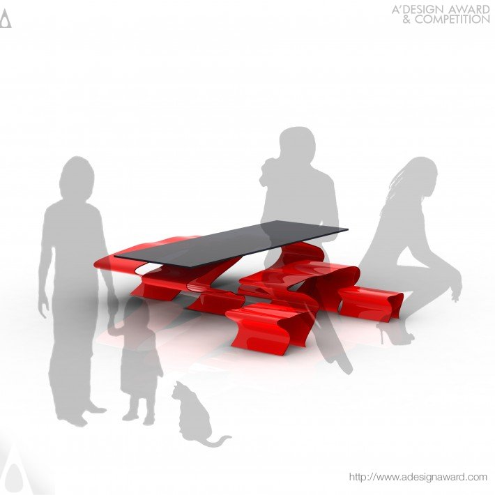 Flow (Coffee Table & Stools Design)