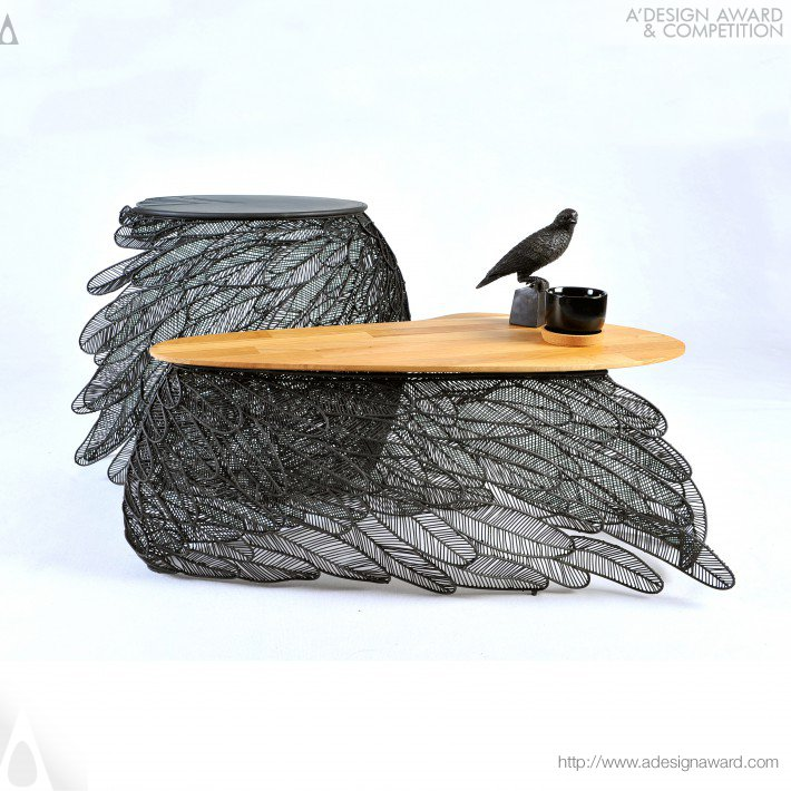 Feather Coffee and Side Table by Apiwat Chitapanya