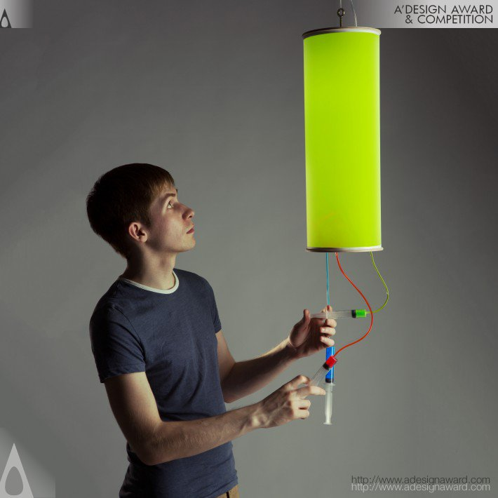 Colour Injector Interactive Multicoloured Lamp by Taras Sgibnev