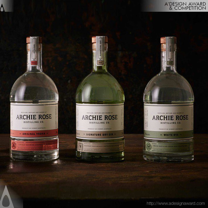 Archie Rose Distilling Co Spirits Range Packaging by Matthew & Terry Squadrito