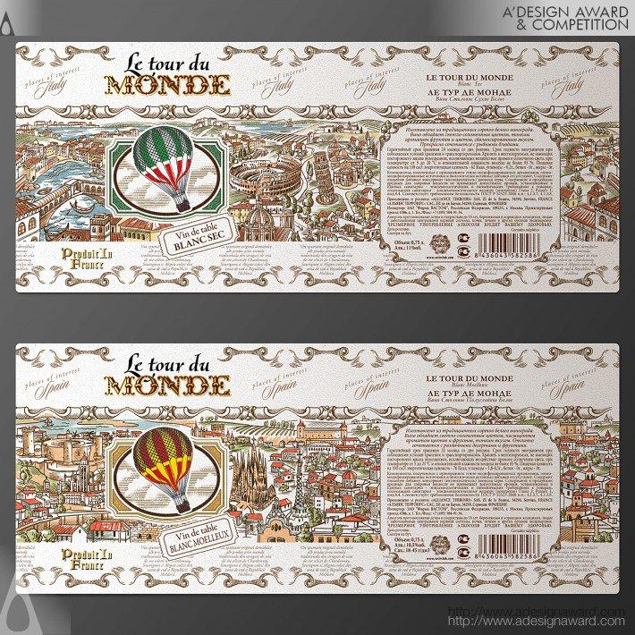 Le Tour De Monde (Series of European Wines Design)