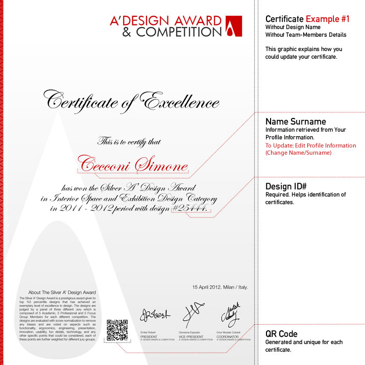 A design award and competition winners certificate the a design award laureates get two certificates design excellence certificate and exhibition at mood certificate in addition to the design award winner yadclub Gallery