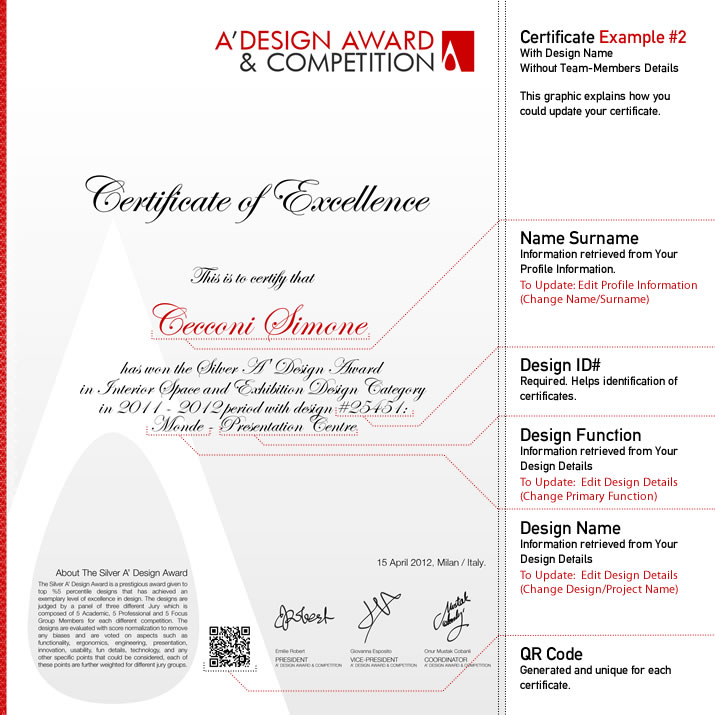 A Design Award and Competition Winners Certificate – Winner Certificate