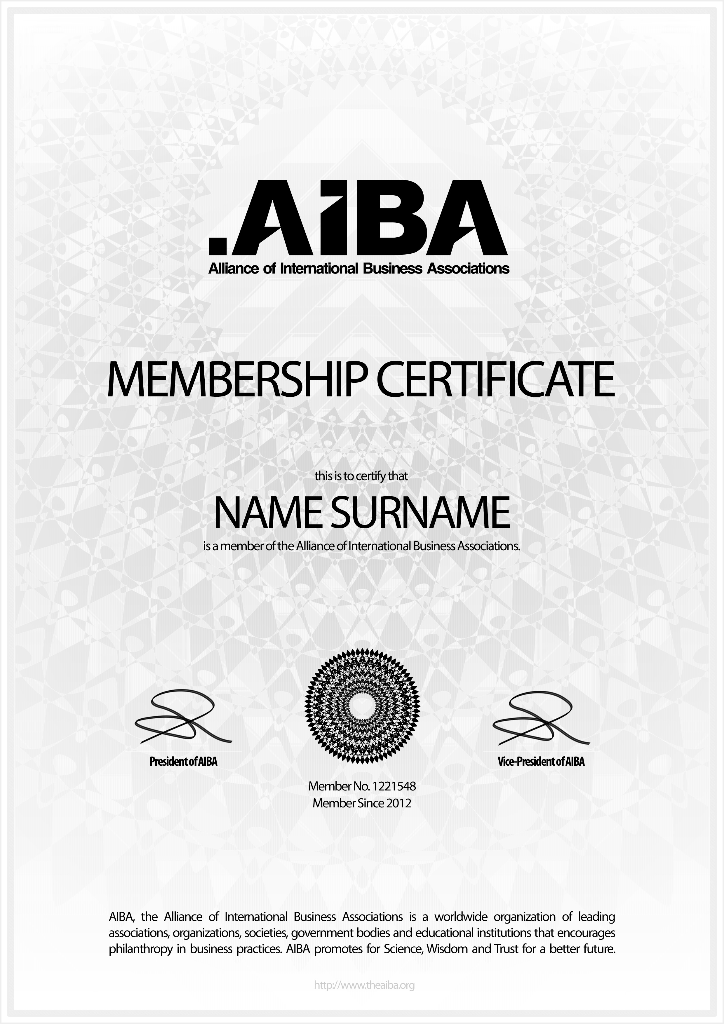A design award and competition aiba membership aiba membership certificate 1betcityfo Images
