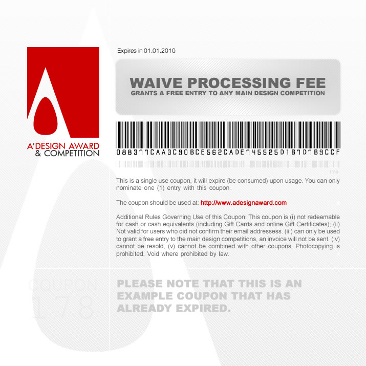 a design award and competition payment waiver coupon